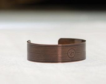 Etched Copper Cuff Bracelet (Wavy Lines)