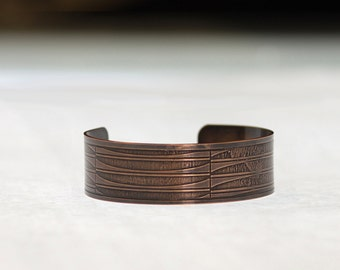 Etched Copper Cuff Bracelet (Gentle Curves)