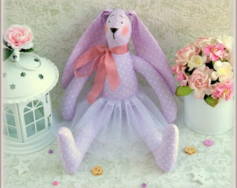 Stuffed bunny ballerina rabbit hare doll child friendly plush softie bunny toy cute soft stuffed toy gift for girl fabric toy