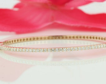 1.9mm 14k Yellow Gold Diamond Bangle, Unique Designer Micro Pave Diamond Bracelet