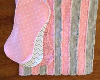 Baby Rag Quilt w/ 3 Burp Cloths