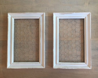 White Distressed Chicken Wire Frames