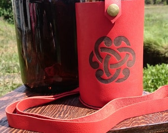 Custom Red Celtic Knot Leather Growler Holder and 32oz. Growler