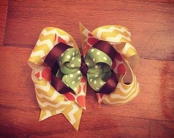 Fall 4'' stacked hair bow