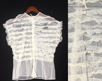 1940's Blouse | Vintage Jami Ivory Ruffle Blouse | Size: Small-Medium