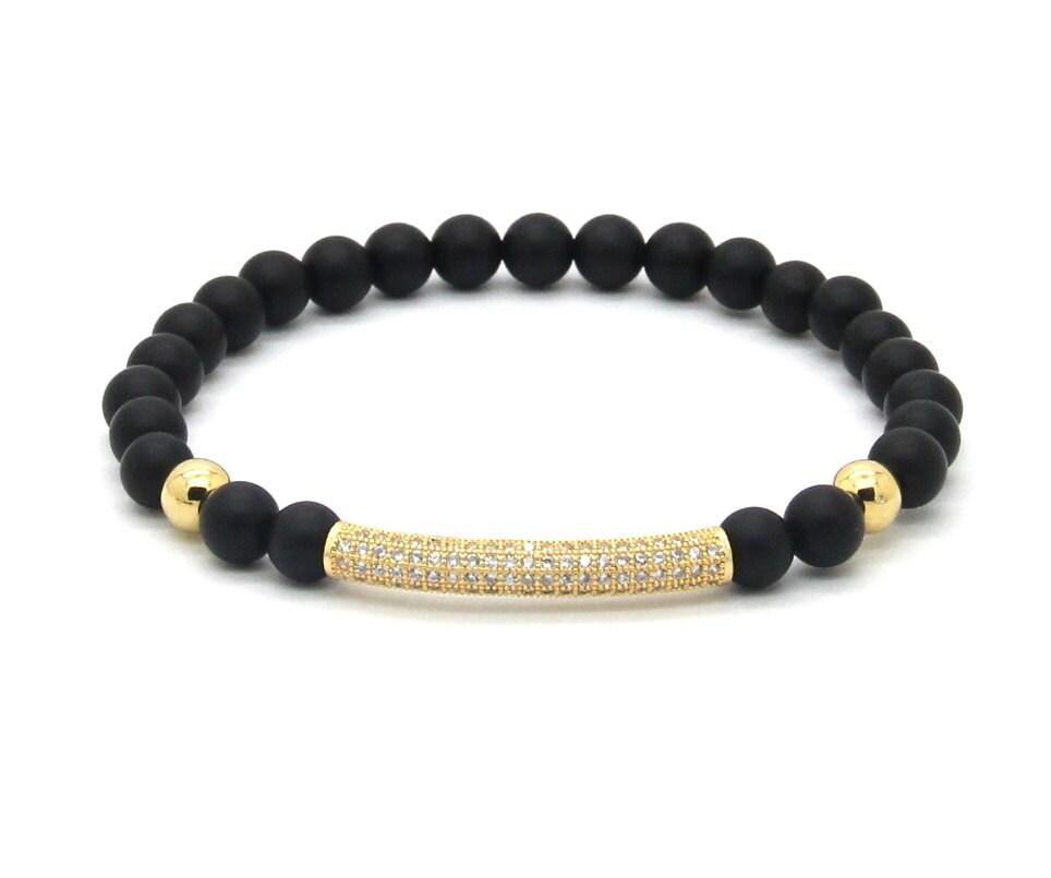 Beaded Diamond: Matte Black Onyx Gold Diamond Tube Beaded By SOULMADEBOUTIQUE