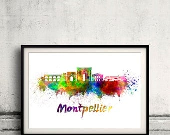 Montpellier skyline in watercolor over white background with name of city - Poster Wall art Illustration Print - SKU 1472