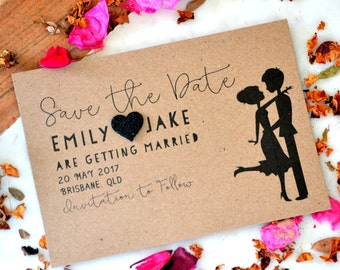Personalised Rustic Save The Date Cards w/ Envelopes Free Shipping - 5x7 inch Custom Save The Date Invitations - Wedding Announcement WED001