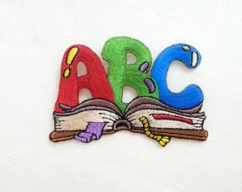 ABC letter Book Iron On Patch (L) -  ABC letter Book Applique Embroidered Iron on Patch Size 7.5x5.2 cm