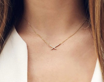 X Cross Necklace - minimal necklace / simple necklace / layering necklace / dainty necklace / delicate necklace / minimalist / gifts for her