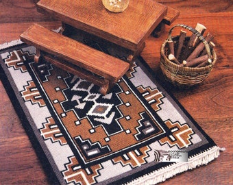 Needlepoint Rug Doll House Miniature Rug Two Gray Hills Navajo Indian Design PDF Pattern