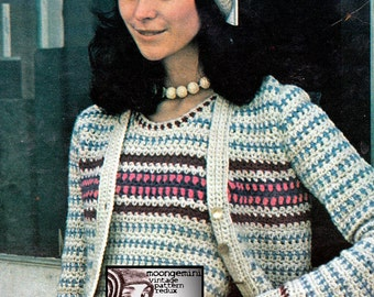 PDF Sweater Twins Crochet Pattern Cardigan & Vest Instant Download Sizes SML