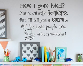 Alice In Wonderland Wall Art alice in wonderland wall decals quotes cheshire cat i am not