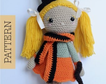 Crochet Amigurumi Doll PATTERN ONLY, Pumpkin Spice, pdf Amigurumi Stuffed Toy Pattern, Halloween