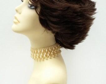 Brown Short Straight Super Flip Wig. Wind Blown Shag Hair. Fun Synthetic Fashion Wig. [70-358-SuperFlip-6]