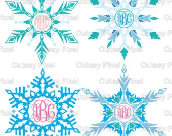 Frozen Inspired Snowflakes Monograms Svg cutting file, arrow Designs SVG, DXF, PNG Cricut Design Space, Silhouette Studio,Digital Cut Files