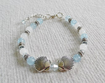 Larimar Bracelet Anklet, Chalcedony Gemstone Bracelet, Seashell Bracelet, Beachy Bracelet, Larimar Jewelry, Beachy Jewelry, Anklet