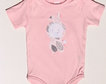 Organic Cotton Onesie Bodysuit Pink Bunny Rabbit - girl