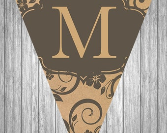 Printable Christmas Banner - Merry Christmas - Kraft Paper & Flower