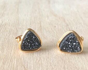 Triangle Black Druzy Earrings