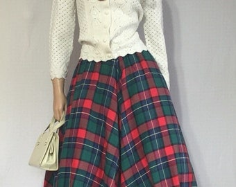 Vintage Plaid Circle Skirt - Rockabilly Pin Up Skirt - 70s does 50s Full Skirt - Retro Dita Teese 50s Skirt