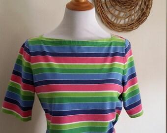 Boatneck top, M, L, rainbow top, Talbots top, striped top, pastel top, cotton top, Talbots boatneck, summer top