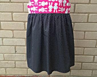 Rabbit Print - Girls Party Dress - Age 4 years - Polka dot dress