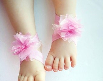 Pink Baby Barefoot Sandal, Baby flower Shoes, pink Sandals, Baby Girl Shoes, Pink shoes, baby shower gift