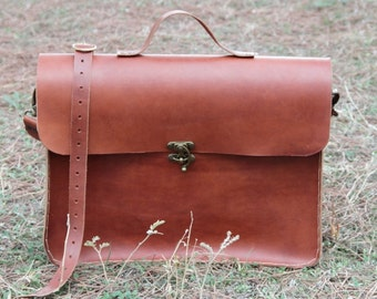 """17""""Brown leather laptop bag,macbook bag,leather briefcase"""