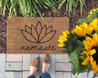 Namaste, lotus flower doormat / Handpainted outdoor welcome mat / Yoga Doormat / Flower Doormat /  Unique gifts / Housewarming Gifts