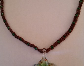 Hemp Necklace with Green Glass Flower Pendant