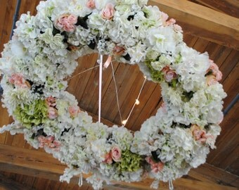 XL Floral Chandelier Wreath   Wedding Wreath   Ceremony Decor  