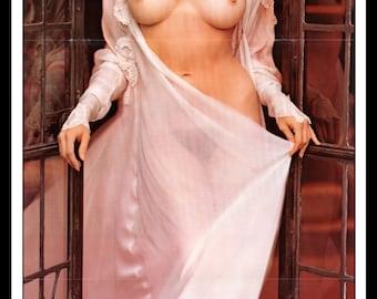 "Mature Playboy February 1973 : Playmate Centerfold Cynthia Lynn Wood Gatefold 3 Page Spread Photo Wall Art Decor 11"" x 23"""