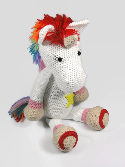 Crochet Unicorn Doll : Crochet unicorn stuffed rainbow unicorn toy by Hippehaakselss