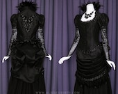 Victorian Steampunk Gothic Bustle Dress ~ Witch Vampire Ball Masquerade Goth Bride Halloween Feathers Wedding Gown 19 century Period Costume