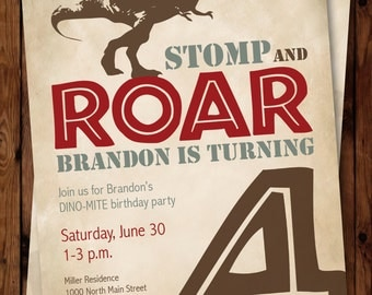Dinosaur Birthday Party Invitation, Dinosaur Invitation, Birthday Boy Invitation