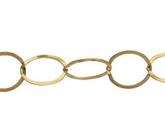 10mm Flat Cable Chain By the Foot - Gold Filled (GF) Item # 20693FC