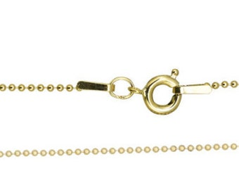 """1mm Finished Bead/Ball Chain 16"""" & 18"""" with spring ring - Gold Filled (GF) Item # 201-16-SBD"""
