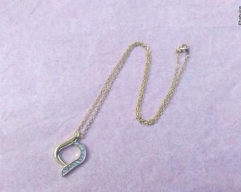 Vintage CZ Bypass Gold Pendant Chain Necklace