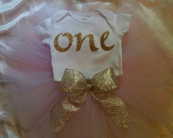 Pink and Gold First Birthday Outfit, Tutu Outfit (Crown included)