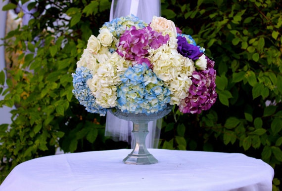Blue green mercury glass unique wedding centerpiece vase