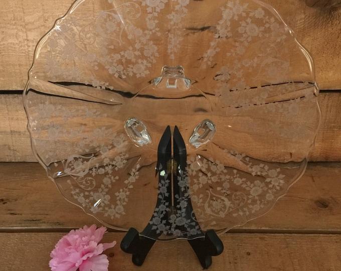 Cambridge Glass Serving Platter - Diane Pattern, Footed Platter Glass, Vintage Serving Dish, Vintage Dining