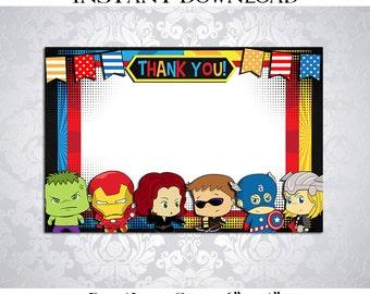 50% OFF SALE Thank you Card Avengers SuperHeroes Super Heroes Superhero Super hero, Blank Card, Instant download, pdf jpg