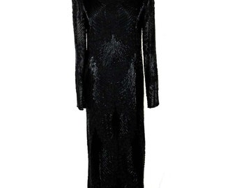 Black Silk Beaded Dress, Ankle Length, Evening Holiday Gown, Size Small