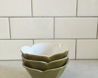 Lotus Shaped ceramic single serving Bowls - Set of 3 - Three Small Green Bowls