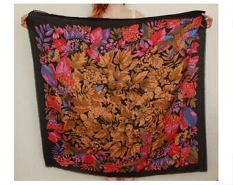 Folk art scarf, vintage shawl