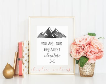 You Are Our Greatest Adventure Watercolor Wall Art Printable. Nursery Room Decor. Printable Wall Art For Kids Room.