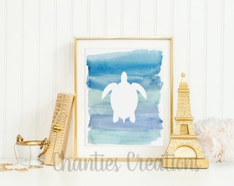 Sea Turtle Dark Blue Ombre Watercolor Silhouette Wall Decor Printable Wall Art Beach House Print Nautical