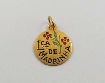 L'Ca de Madrinha With Red and Green Enamel 19K Gold Vintage Portuguese Charm For Bracelet