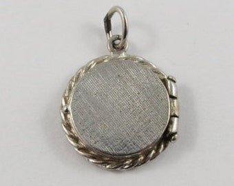 Circle Locket With Braided Edges Mechanical Sterling Silver Vintage Charm For Bracelet